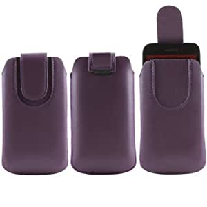 Quaroth iTALKonline Purple Quality PU Leather Slip Pouch Protective Case Cover with Pull Tab and Magnetic Closure For...