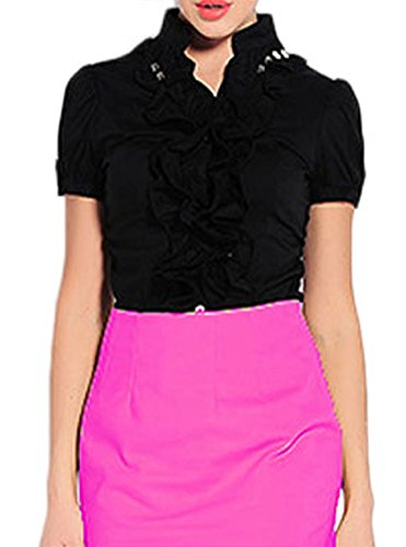 Black Short Soojun Shirts Bodysuit Collar Sleeve Sleeve Women's Button Down 2 Ruffle Ruched Long AfpwqRPA
