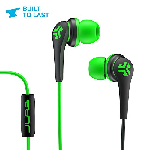 JLab Audio Core Hi-Fi Noise Isolating Earbuds with Mic and Cush Fin Technology, Guaranteed, Guaranteed for Life - Green/Black