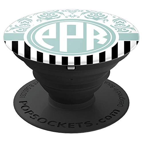 PPR Monogram Phone Grip Blue Damask Initials PPR or PRP - PopSockets Grip and Stand for Phones and Tablets