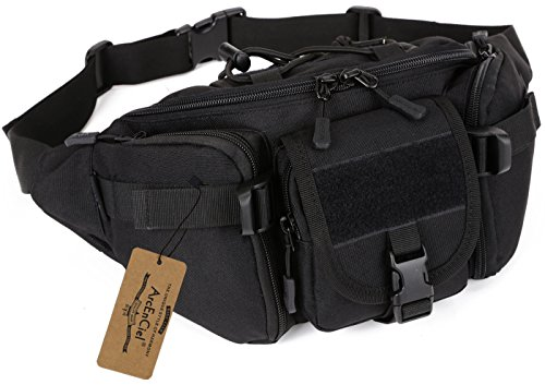 Waist Pack Utility Pouch (ArcEnCiel Water Resistant Tactical Waist Pack Bag Military Fanny Packs Hip Belt Bag Pouch for Hiking Climbing Outdoor Bumbag (Black))