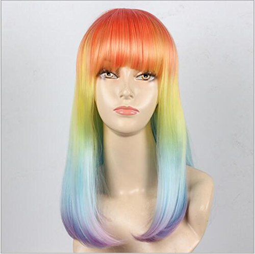Cosplay Wig of Mixed Colored Wigs for Women Medium, Full Straight and Heat Resistant. Fashion Glamor Hairpiece for Party Luxury Dress Halloween