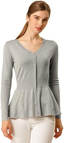 Allegra K Camisetas De Punto Suéter Peplum Manga Larga Fruncido para Mujeres