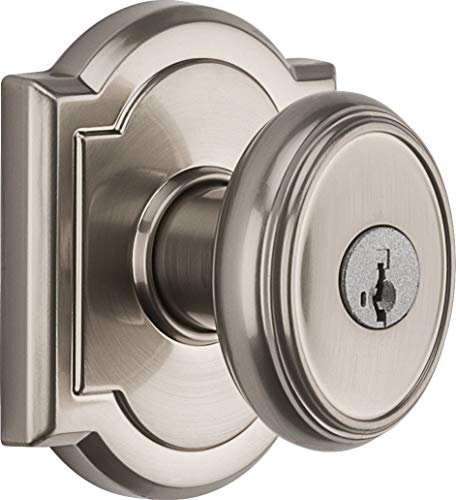 (Baldwin Prestige Carnaby Entry Knob featuring SmartKey in Satin Nickel)