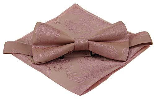 Various Paisleys Mens Silk Bowtie and Pocket Square Set (Rose -