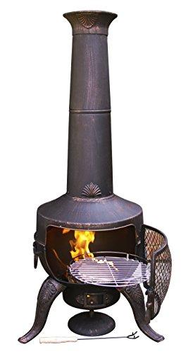 Tia Large Chimenea with BBQ Grill - Bronze (Chimenea Bronze)