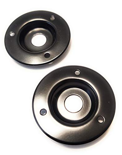 2 Pack Round Metal Speaker Jack Plates for Amplifier Cabinets 1/4 inch Black Finish 2 inch Diameter (For Jack Cabinet Speaker Plate)