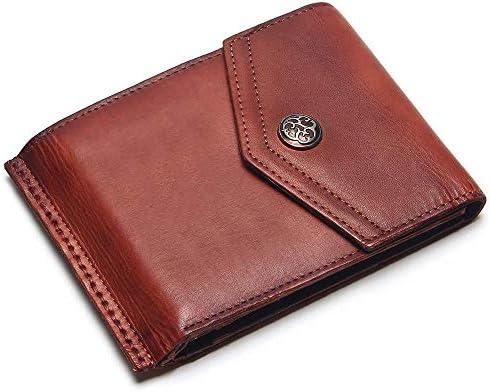 HEIMIAOMIAO Herrenbrieftasche Vintage Leder Männer Haspe Brieftasche Herren Retro Brieftasche Kurz Matt Rot Farbwechsel Geldbörse Geldbörse, Braun