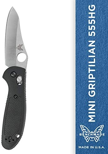 Benchmade – Mini Griptilian 555HG Knife, Sheepsfoot Blade, Serrated Edge, Satin Finish, Black Handle