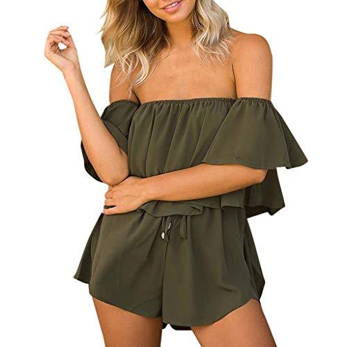 (Alangbudu Women Off Shoulder Bandeau Strapless Ruffle Overlay Beachwear Short Elastic Waist Rompers Jumpsuits Overalls Army)
