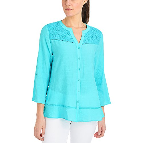 1d8762e1dacb81 ... roll up to 3/4 sleeve button down blouse lace front yoke. Comments.  Flint & Mortar Womens Hayley Lace Yoke Blouse (S - Turq Chiclily)
