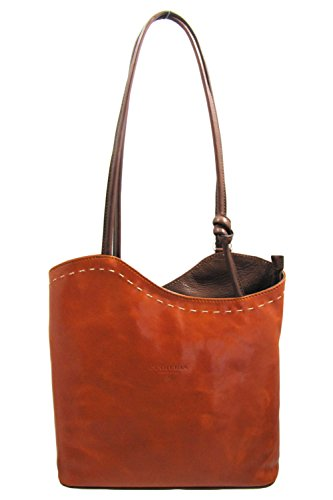 Cuoieria Fiorentina Italian Leather Convertible Shoulder Backpack Handbag (Orange) by Cuoieria Fiorentina