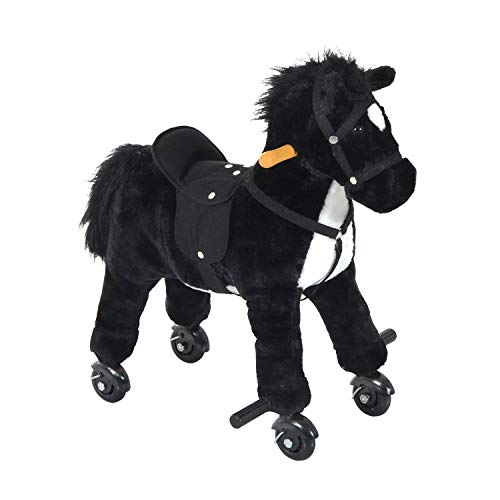 Qaba Kids Interactive Plush Mechanical Walking Ride On Horse Toy with Wheels - Black