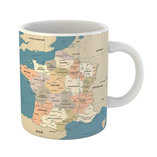 Emvency Coffee Tea Mug Gift 11 Ounces Funny Ceramic Blue Alsace France Map Vintage Detailed Brown Aquitaine Gifts For Family Friends Coworkers Boss Mug -