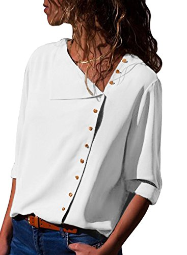 SOLO POP Women Casual Long Sleeve Side Buttons Shirt Chiffon Blouse Turndown Collar Solid Tops(White,S)