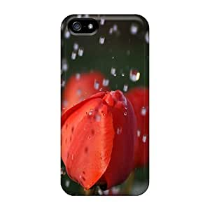 5/5s Scratch-proof Protection Case Cover For Iphone/ Hot Tulips Under The Rain Phone Case