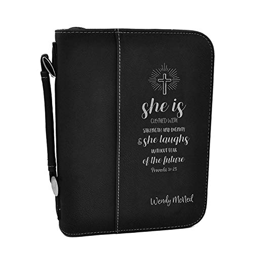 Custom Bible Cover | Proverbs 31:25 |Personalized Bible Cover (Black Silver)