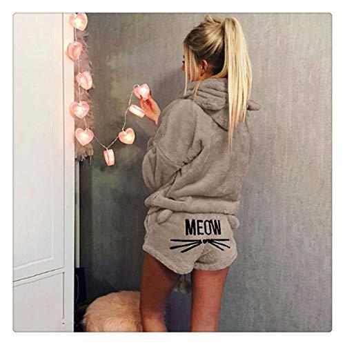 Women Pajama Sets Flannel Cartoon Autumn Winter Warm Plus Size Pyjamas Hooded Sleepwear Cat Female Animal Pajama Khaki XL]()