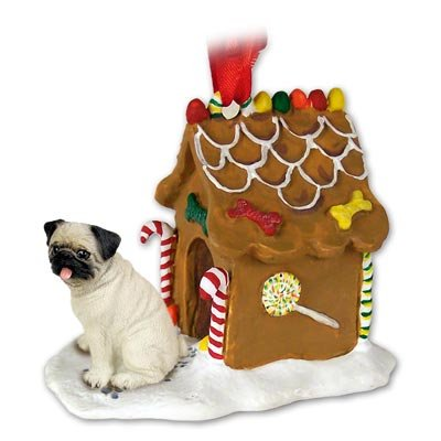 Fawn Pug Dogs Gingerbread House Christmas Ornament
