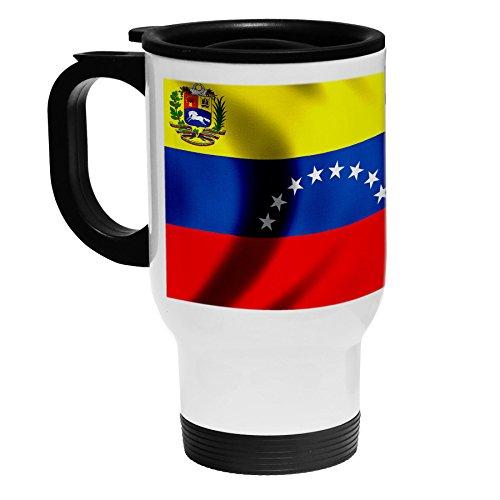 White Stainless Steel Coffee / Travel Mug - Flag of Venezuel