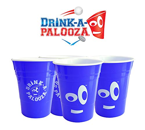 DRINK-A-PALOOZA: plastic Party Cups 16 oz hard plastic | Party Supplies for Adults | beer glasses Party Favors, Beer Pong, Flip Cup drinking cups and glasses | environmentally friendly dishwasher safe