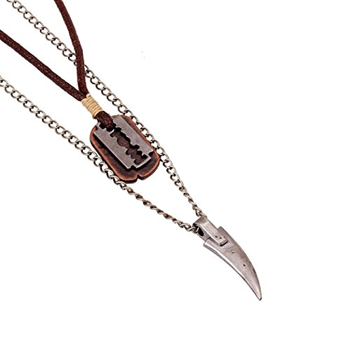 MORE FUN Punk Alloy Tooth Razor Blade Pendant Wild Claw Necklace Metal Chain and Wax Rope (Brown) -