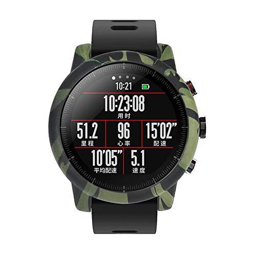 Saisiyiky Protector Case Compatible con Amazfit Huami Stratos 2/2S Smartwatch Reloj, Camuflaje color Suave TPU Protectora de Silicona Funda de ...