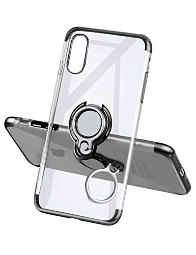 Yoopake iPhone Xs Max Case Clear Slim Fit Ultra Thin Cover with Grip Ring Holder Stand (360° Rotatable) and Magnetic Back for Car Mount, Protective Phone Case for iPhone Xs Max - Black