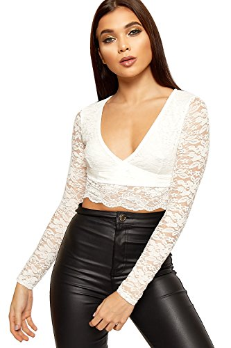 WEARALL Women's Wrap Over Floral Lace Lined Scallop Hem Long Sleeve Crop Top - Cream - US 6 (UK 10)