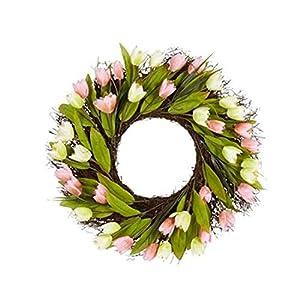 Northeast Home Goods Artificial Tulips Spring Floral Front Door Twig Wreath, 22-Inch 12