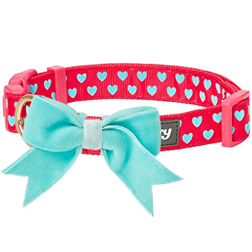 Blueberry Pet 2019 New Easter Spring Heart Flocking Dog Collar in Lust Red with Detachable Velvety Bowtie, Small, Neck 12-16, Adjustable Collars for Dogs