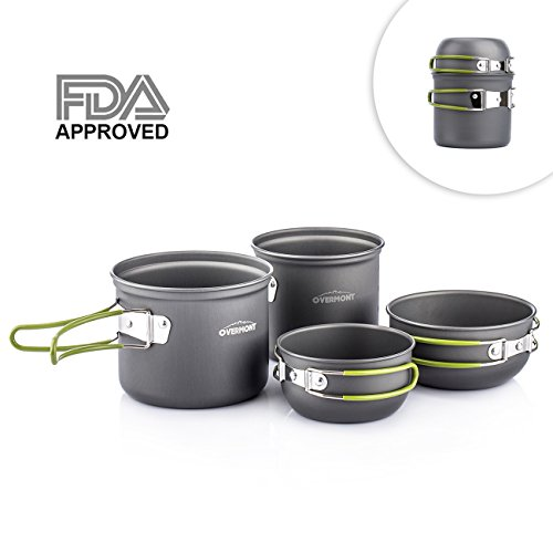 Overmont Portable 2-3 Person Outdoor Camping Pot Set FDA Approved Hiking Picnic Camping Gear Aluminum Alloy Cookware and Pot Set