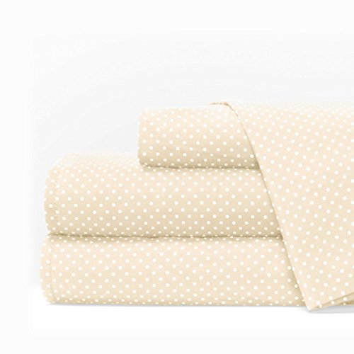 Egyptian Luxury 1600 Series Hotel Collection Pindot Pattern Bed Sheet Set - Deep Pockets, Wrinkle and Fade Resistant, Hypoallergenic Sheet and Pillowcase Set - King - Cream/White ()