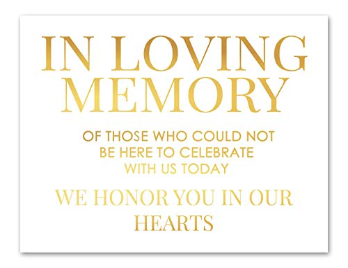 In Loving Memory Wedding Sign Gold Foil Print Wedding Memorial Table Honoring Loved Ones At Wedding -