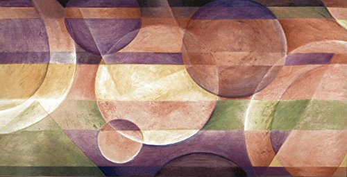 (Wallpaper Border Modern Circles with Purple Beige Green Contempoary)