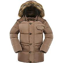 Valuker Men's Down Coat With Fur Hood 90% Down Parka Puffer Jacket