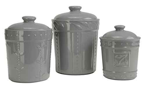 Signature Housewares Sorrento Collection Set of Three Canisters, 80 Ounce, 48 Ounce, 36 Ounce, Light Gray -