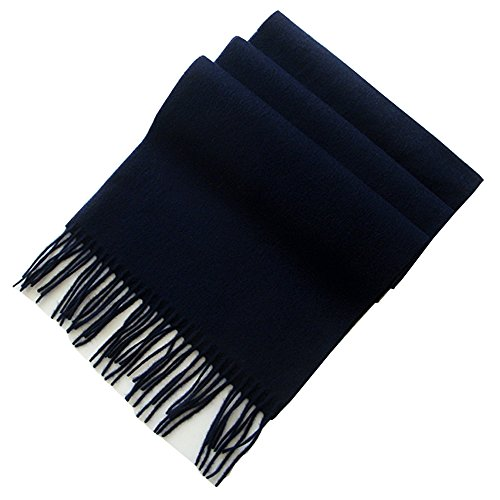 - Navy Cashmere & Wool Scarf Solid Color, Fashionable Thin Lightweight Scarf for Men and Women in Cold Weather with Gift Box