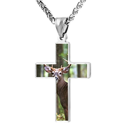 Gjghsj2 Cross Necklace Pendant Religious Jewelry Deer In The Forest For Men Wome ()
