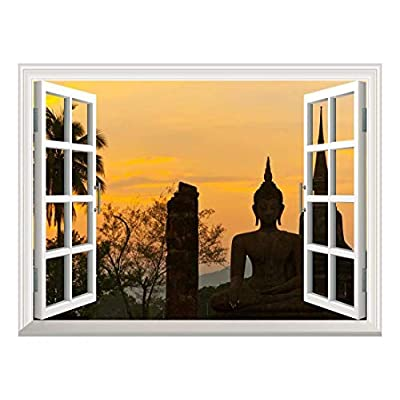 Removable Wall Sticker Wall Mural Wat Mahathat at Sukhothai Historical Park Thailand Creative Window View Wall Decor, Professional Creation, Magnificent Design