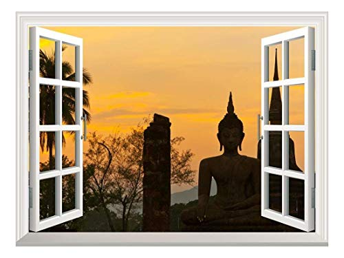 Removable Wall Sticker Wall Mural Wat Mahathat at Sukhothai Historical Park Thailand Creative Window View Wall Decor