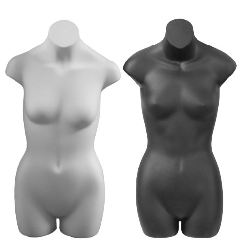 Teenage Girl 3/4 Display Form - Female, Black/White Combo by Plastic Mannequins