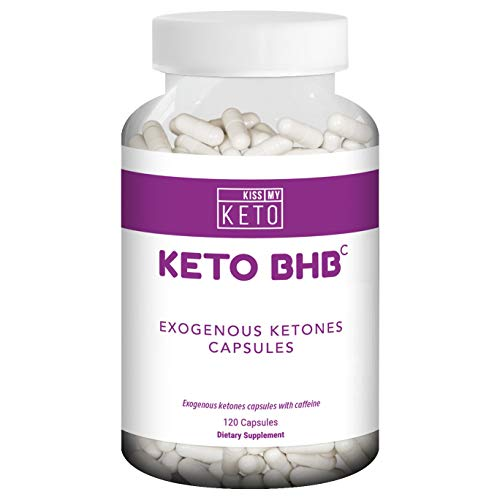 Kiss My Keto Exogenous Ketones Capsules - 120 Count - Keto Diet Pills with Keto BHB Salts as Ketones with Caffeine, 60 Day Supply