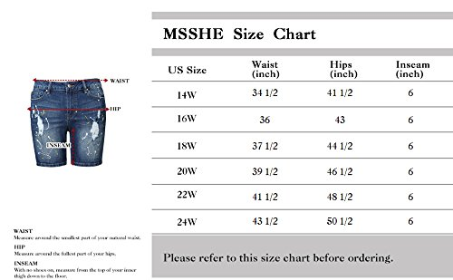 MSSHE Women's Plus Size Printed Cuffed Denim Shorts by MSSHE (Image #7)