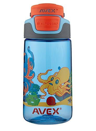 AVEX Kids Freeride Octopus Autoseal Water Bottle, Baby Blue, 16 (One Fold Down Shelf)