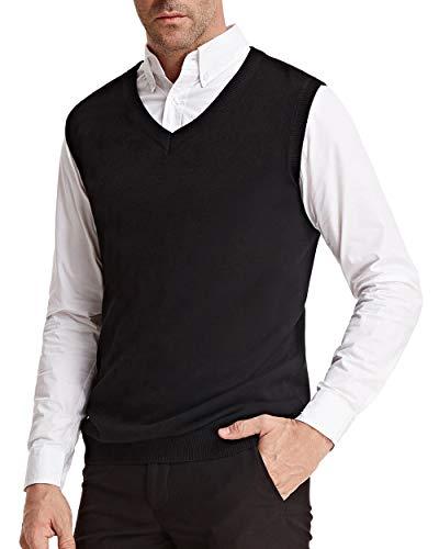 PJ PAUL JONES Mens Sweater Vest Casual Comfortable Knit V-Neck Lightweight Soft (2XL, Black)