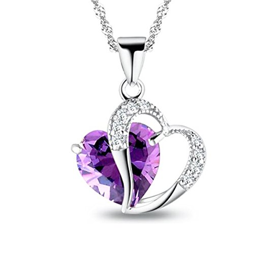 Sephla White Gold Plated Forever Love Heart Pendant Necklace Made With Heart Shape Super Sparkle Crystal (Purple) - Sparkle Super Shapes
