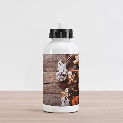 Lunarable Halloween Aluminum Water Bottle, Funny Artsy Delicious Ginger Cookies on Rustic Wooden Table Warm Desserts Print, Aluminum Insulated Spill-Proof Travel Sports Water Bottle, Multicolor