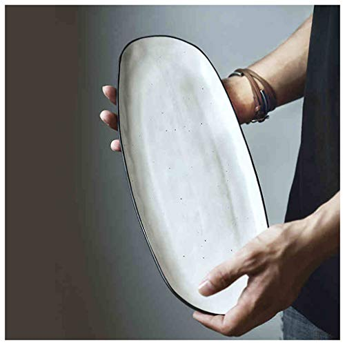 SMC plates Japanese Style Dish Fish Plate Fruit Plate Long Dish Ceramic White Household 12 Inch-34.8X14CM