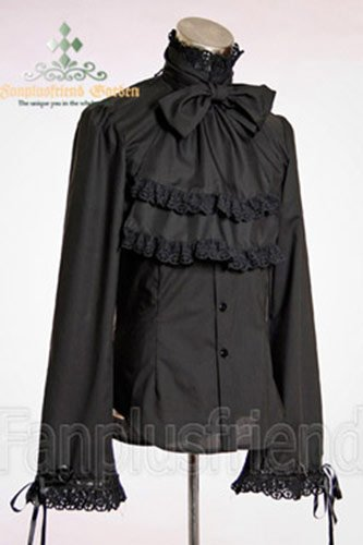 Camisa Negra Gótica pirata Prince con jabot Negro negro: Amazon.es ...